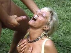 Kinky granny longs for big sausage and fresh cream