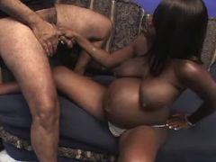 Pregnant ebony sucks cock on sofa