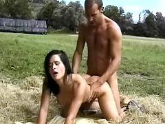 Cutie assfucks on hayloft
