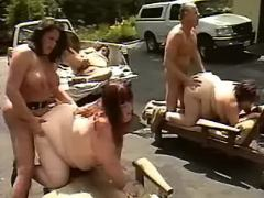 Fat road sluts gangbang