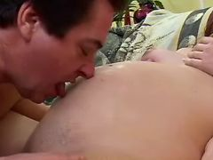 Man licks pregnant chick