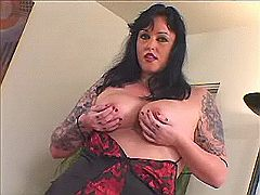 Tattoed fatty shows off