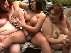 Dirty fatties in hot orgy