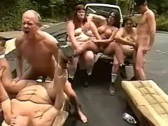 Men screw fatties outdoor