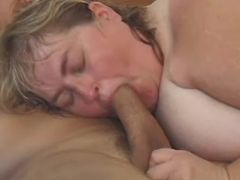 Huge woman sucks cock