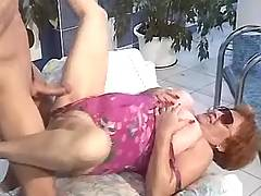 Big lady fucked near pool