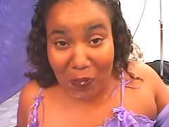 Chubby ebony gets facial
