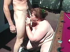 Obese lady sucks outdoor