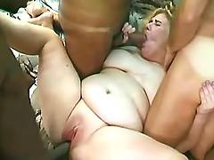 Three men jizz on plumper