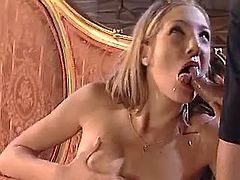 Lewd beauty making sensual oral job