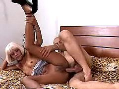 Blonde gets fucked on bed
