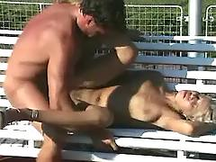 Sex on bench in park