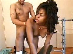 Ebony gets jizz on belly
