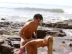 Sexy nymph fucks on beach