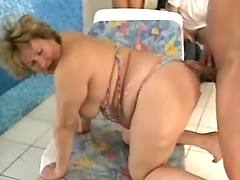 Grandma get DP near pool