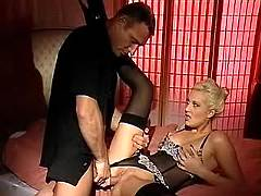 Blonde in stockings fucks