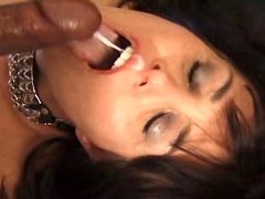 Brunette milf gets facial