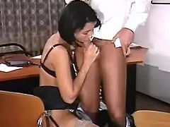 Hot secretary sucks cock