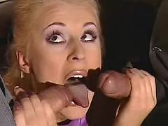 Brunette making oral job