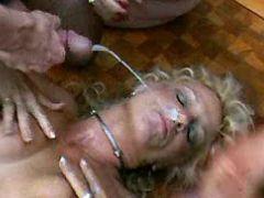 Blonde milf gets facial