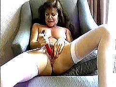 Horny milf with vibrator