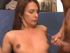 Shemale cums and gets cum