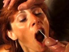 Redhair milf gets facial