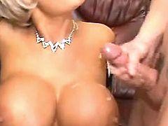 Man jizzes on big boobs