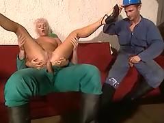 Workers jizz on blonde