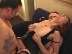 Two men screw mature slut