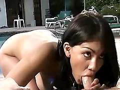 Fine throat job by pool