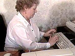 Old secretary gets banged