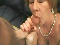 Grandma in crazy gangbang
