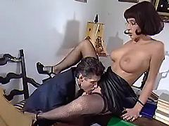 Boss licks her secretary