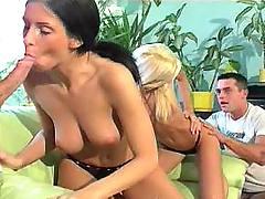 Two bi girls blow dicks