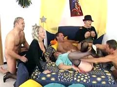 Three oldies in gangbang