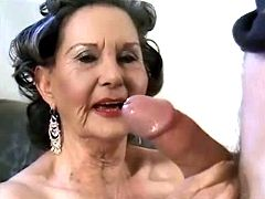 Granny licking young dude