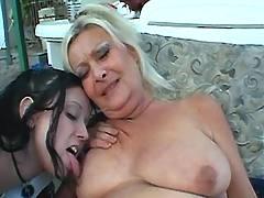 Lesbian depraves granny