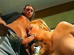 Pretty shemale blows cock