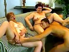 Guy pleases two old sluts