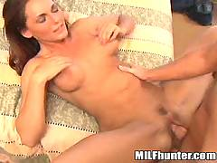 Mature is pounded on bed