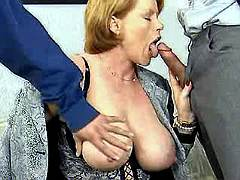 Mature enjoys gang bang