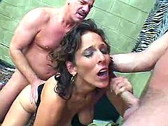 Mommy entertains two guys