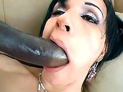Ts plays with big dildo