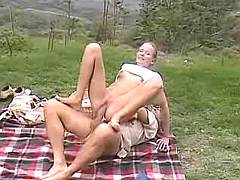 Young gal fucks on picnic