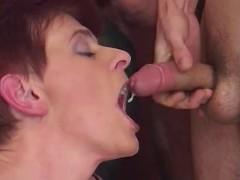 Mature gets cum in orgy