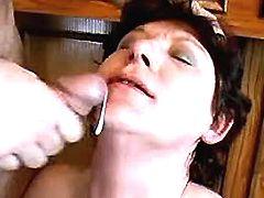 Mature gets facial in bar